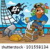 Pirate ship deck theme 2 - vector illustration. - stock photo