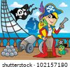 Pirate ship deck theme 9 - vector illustration. - stock vector