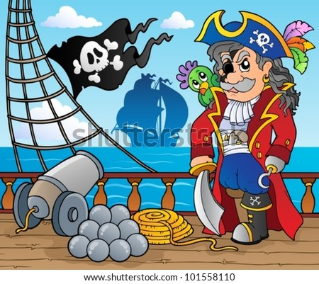 Pirate ship deck theme 3 - vector illustration.