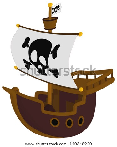 Pirate Ship isolated on a white background. - stock vector