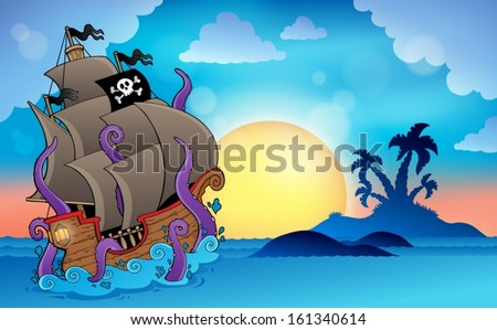 Pirate ship near small island 2 - eps10 vector illustration. - stock vector