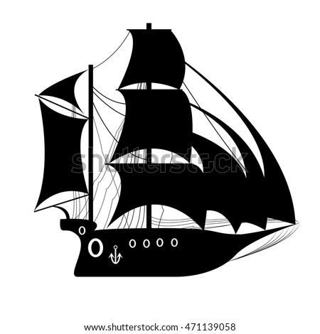 Ship silhouette stock images royalty free images for Pirate ship sails template