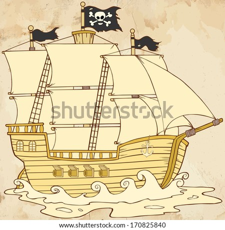 Pirate Ship Sailing Under Jolly Roger Flag In Old Paper. Vector Illustration