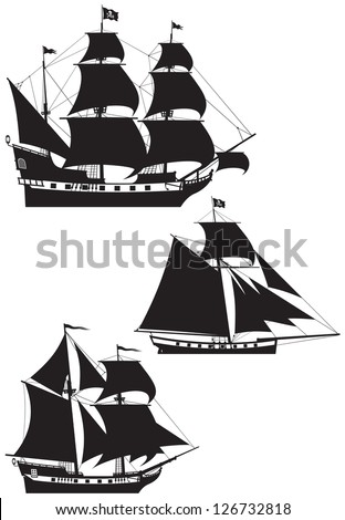 Pirate Ship silhouettes, galleon, brigantine and cutter under the Jolly Roger black flag, Age of Discovery sailing vessels vector illustration - stock vector