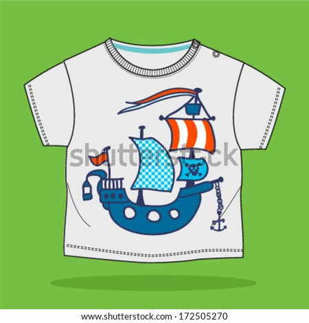 Pirate ship. Vector illustration - stock vector