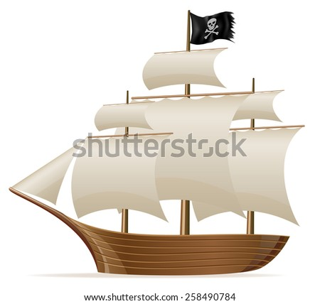 pirate ship vector illustration isolated on white background - stock vector