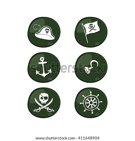 pirate sign icon set vector art illustration - stock vector