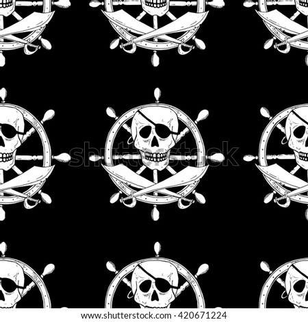 Pirate sign with skull and sabers with a helm on background. Seamless pattern - stock vector