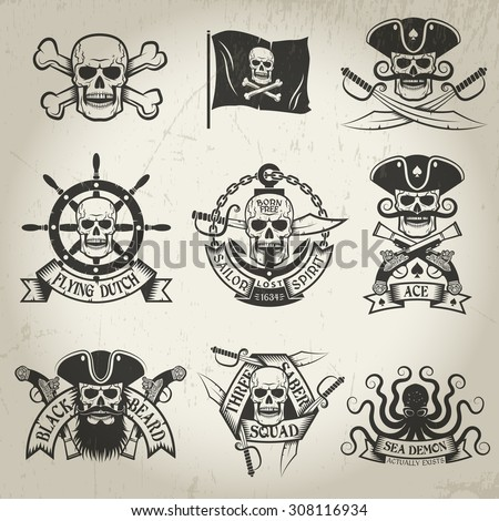 Pirate signs set. Jolly Roger, pirate flag, crossed sabers, sea demon, skull in cocked hat. Logos can be easily disassembled. Texture and backgrounds on separate layer and can be easily removed. - stock vector