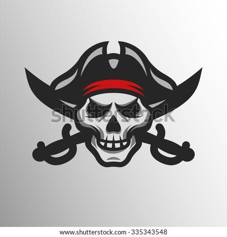 Pirate Skull and crossed sabers badge, logo. - stock vector