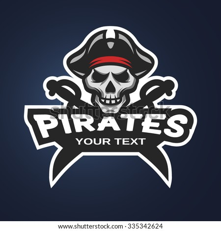 Pirate Skull and crossed sabers badge, logo, emblem on a dark background. - stock vector