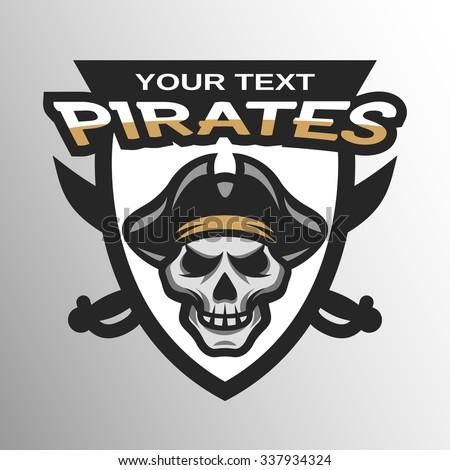 Pirate Skull and crossed sabers sea pirate theme badge, logo, emblem. - stock vector