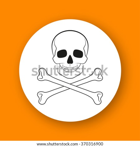 Pirate skull. Contour round icon with shadow. Info graphic element. Vector illustration, eps 10.