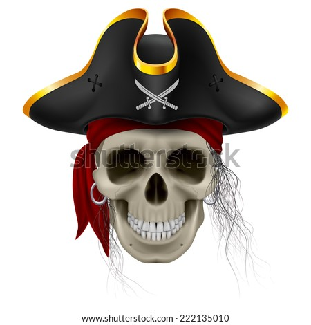 Pirate skull in red bandana and cocked hat with hair tuft - stock vector