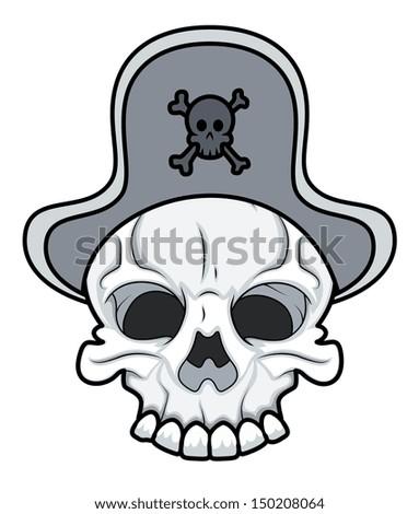 Pirate Skull - Vector Cartoon Illustration - stock vector