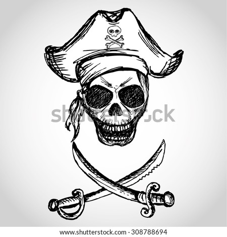 Pirate Hat Drawing Skull Pirate Il...