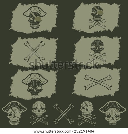 pirate skull with hat set on flags and icons - stock vector