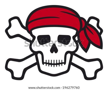 pirate skull with red bandanna and bones (skull pirates symbol, skull and cross bones, skull with crossed bones) - stock vector