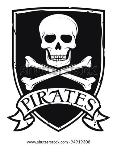 pirate symbol (emblem, coat of arms) - stock vector