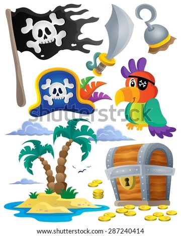 Pirate theme set 1 - eps10 vector illustration.