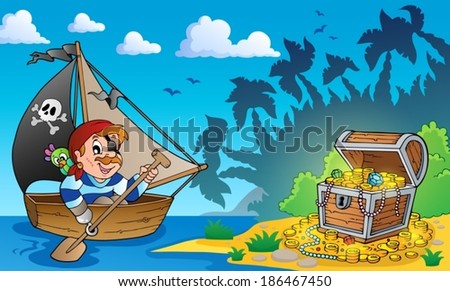Pirate theme with treasure chest 3 - eps10 vector illustration. - stock vector