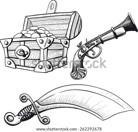 Pirate Treasure Chest saber and pistol - stock vector