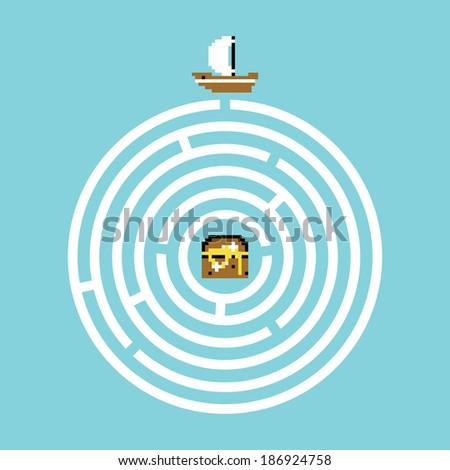 Pirate treasure maze vector illustration - stock vector