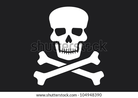 pirate vector flag (jolly roger pirate flag with skull and cross bones) - stock vector