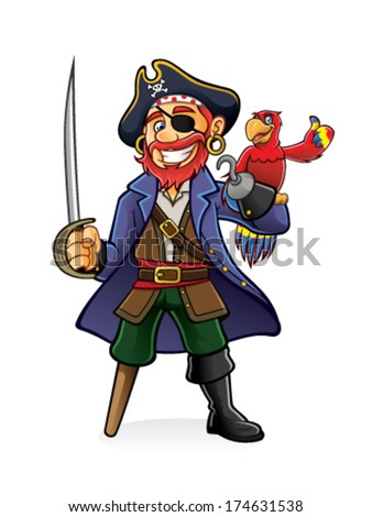 Pirate was standing holding a drawn sword with a parrot perched on hand - stock vector