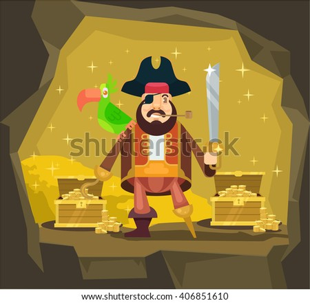 Pirate with gold. Vector flat cartoon illustration - stock vector