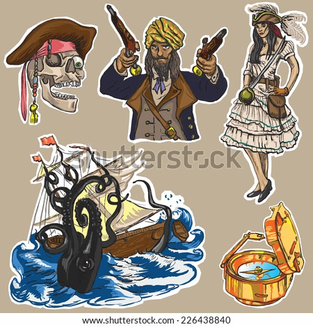 Pirates - An hand drawn colored vector pack no.2. Description: Vector is editable in several layers and group of objects. Background and spots are isolated.