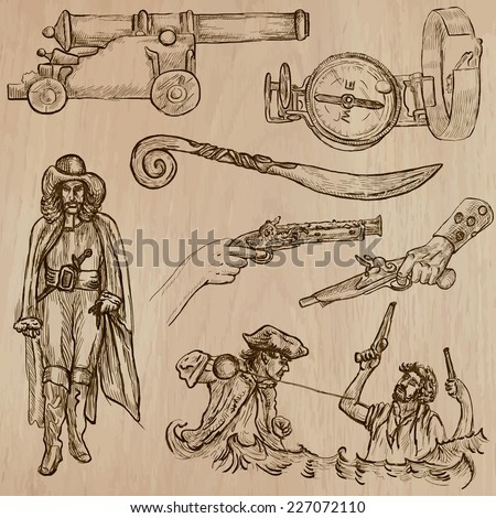 Pirates, Buccaneers and Sailors - Collection (no.11) of an hand drawn illustrations. Description: Each drawing comprise of three layer of outlines, the colored background is isolated. - stock vector