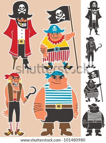 Pirates: 4 cartoon pirates. No transparency and gradients used.