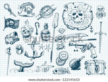 Pirates doodles set - stock vector
