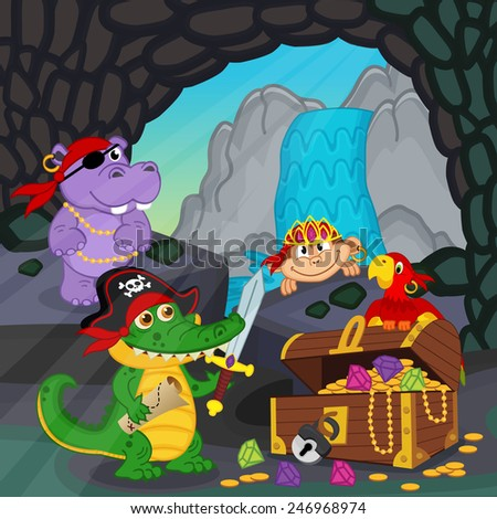 pirates found treasure in a cave - vector illustration, eps - stock vector