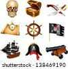 pirates icons detailed vector set - stock vector