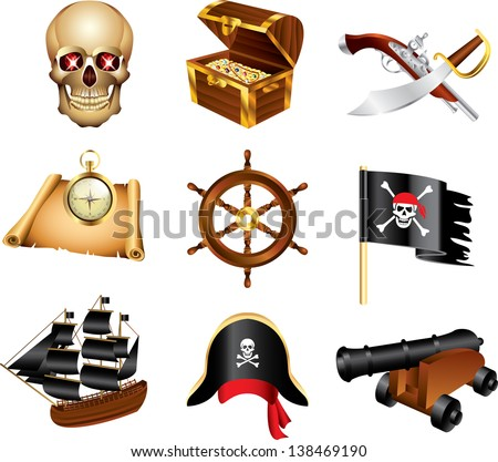 pirates icons detailed vector set