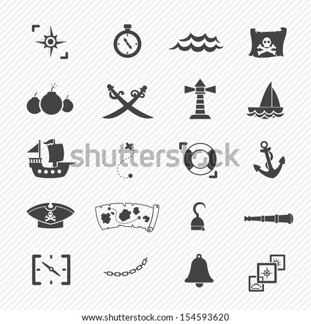 pirates icons isolated on white background - stock vector