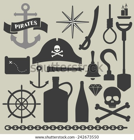 pirates icons set  - stock vector