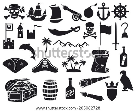 pirates icons set (sabre, skull with bandanna and bones, hook, triangle hat, old ship, spyglass, treasure chest, cannon, anchor, rudder, mountain, map, barrel, rum, island) - stock vector