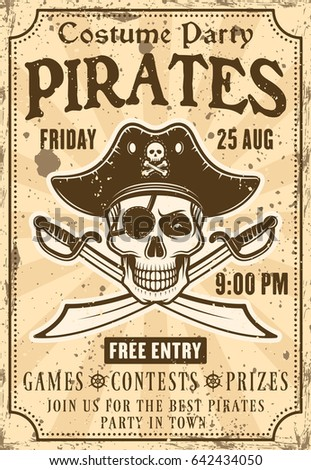 Pirates invitation poster costume party skull stock vector pirates invitation poster to costume party with skull in hat and crossed sabers vector illustration in stopboris Gallery