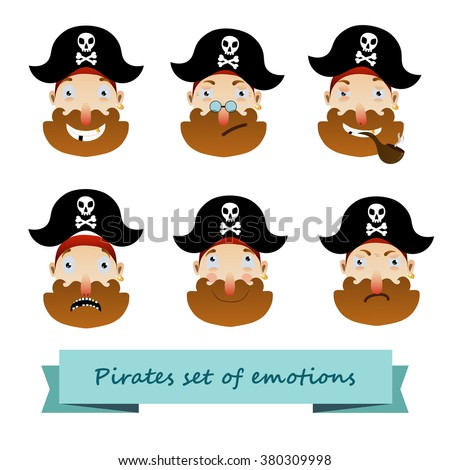 pirates set of emotions, color head man  with Red beard and  jolly joker,smile pirate, Surprised pirate, pirate scared , incredulous pirate ,tobacco pipe,skull on the  cocked hat - stock vector