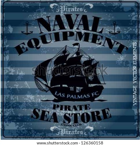 pirates ship print vector set.naval equipment vector set.sea store set - stock vector