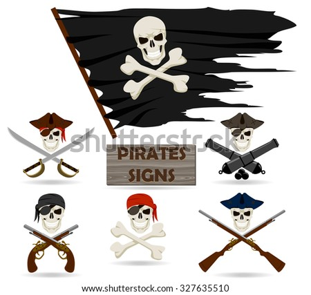 Pirates signs set - stock vector