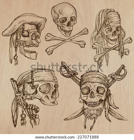 Pirates - Skulls collection. Collection of an hand drawn illustrations. Description: Each drawing comprise of three layer of outlines, the colored background is isolated. - stock vector