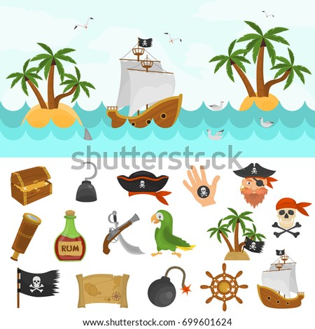 Pirates time color icons set. Pirate boat at the ocean color illustration for web and mobile design