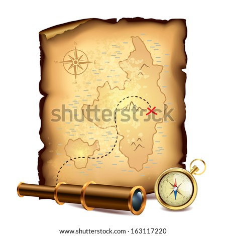 Pirates treasure map with spyglass and compass vector illustration - stock vector