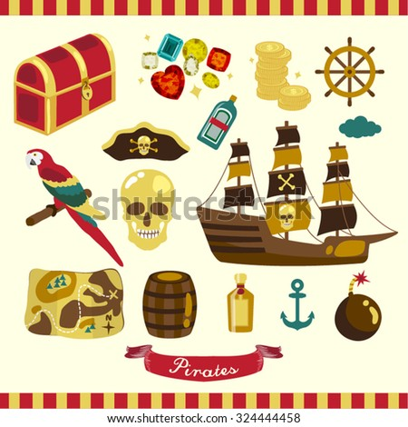Pirates Vector Design Illustration - stock vector