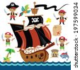 Pirates vector illustration - stock vector