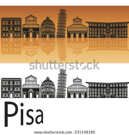 Pisa skyline in orange background in editable vector file - stock vector